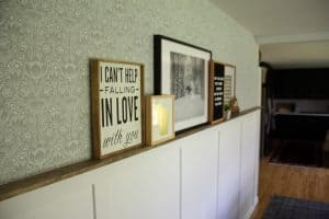 Faux Wainscoting with Picture Ledge and Wallpaper-025