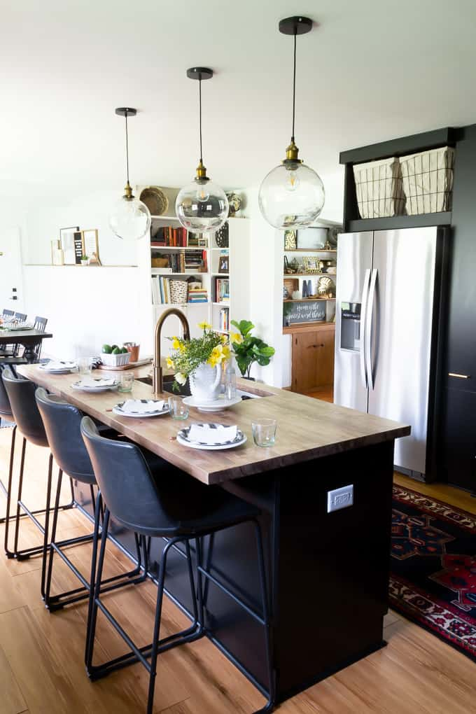 Black Cabinets with Butcher Block