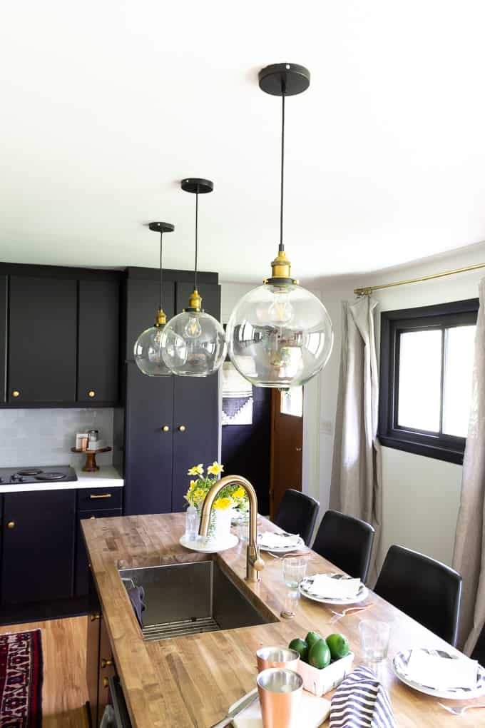 Fishbowl Pendants in Modern Kitchen
