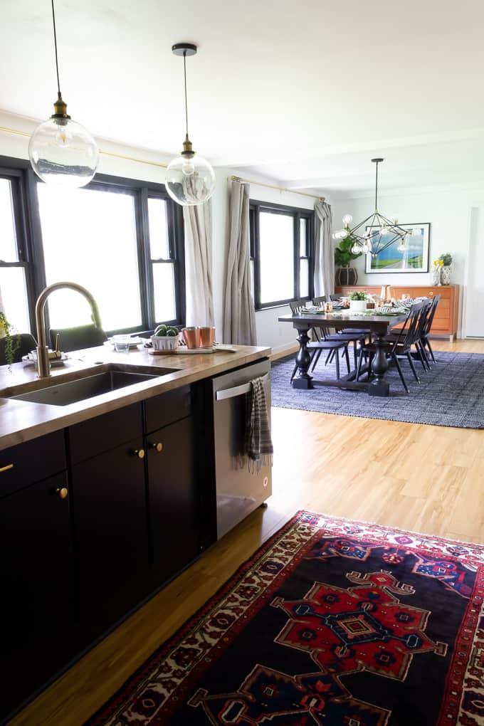 Black Cabinets and Vintage Rug