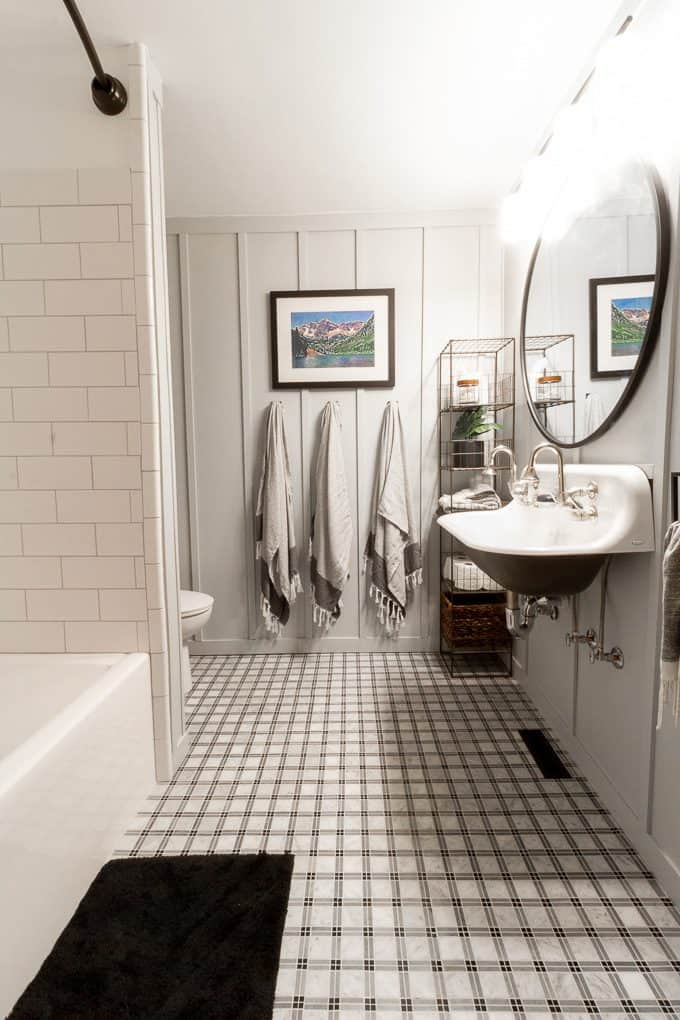 Our Board and Batten Bathroom with a Farmhouse Sink!
