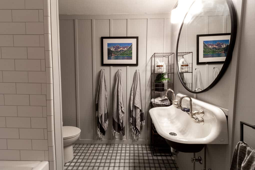Board and Batten Bathroom with a Farmhouse Sink