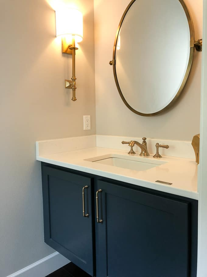 Powder Bathroom with Brass Fixtures