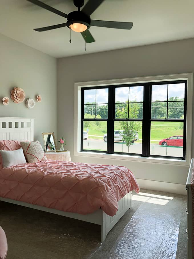 Pink Little Girls Bedroom with Black Windows
