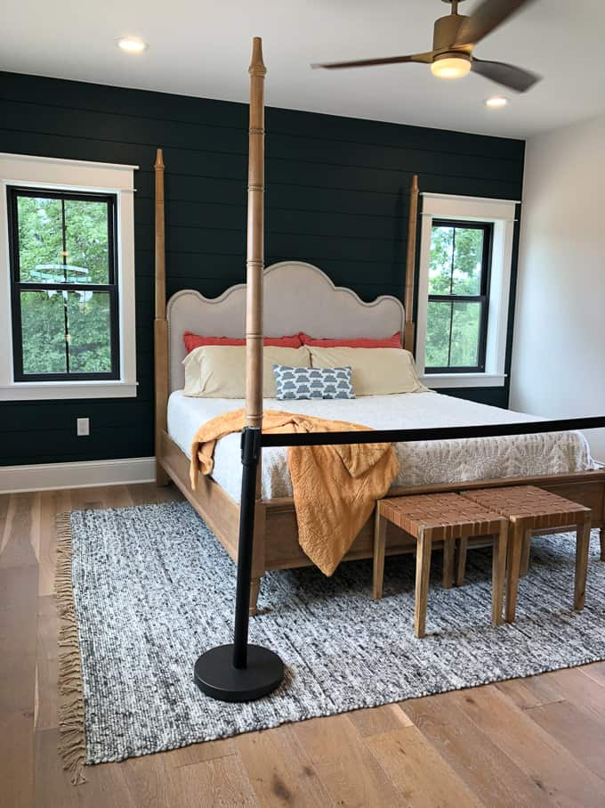 Modern Bedroom with Dark Shiplap Wall