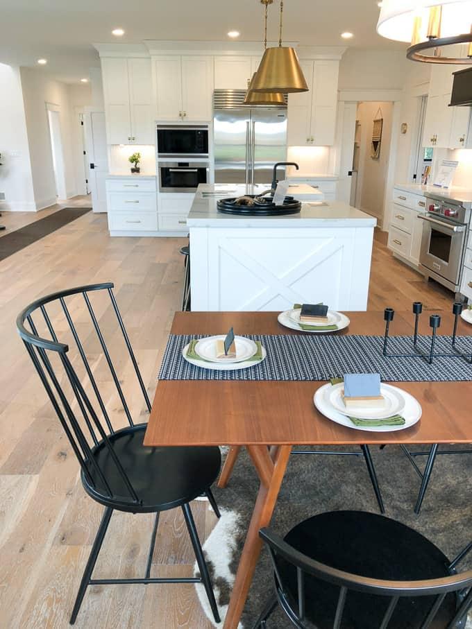 Modern Kitchen with Brass Pendant Lights