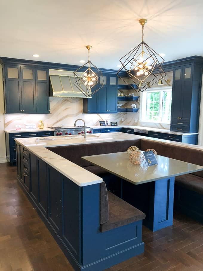 Modern Blue Kitchen with Brass Accents