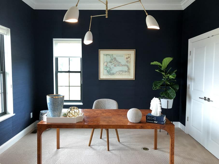 Modern Office with Blue Walls and Burl Desk