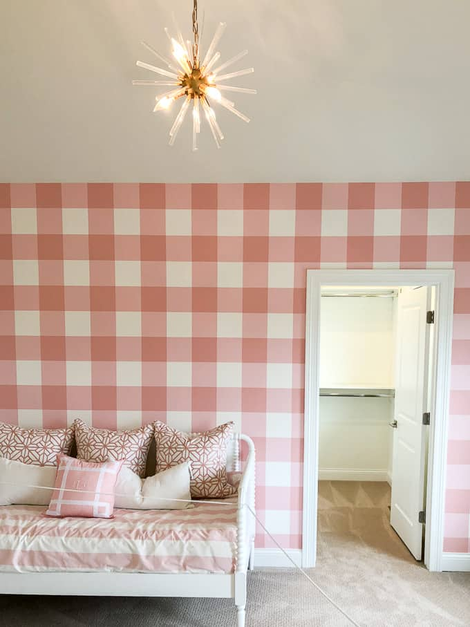 Pink Buffalo Check Wall in Girls Bedroom