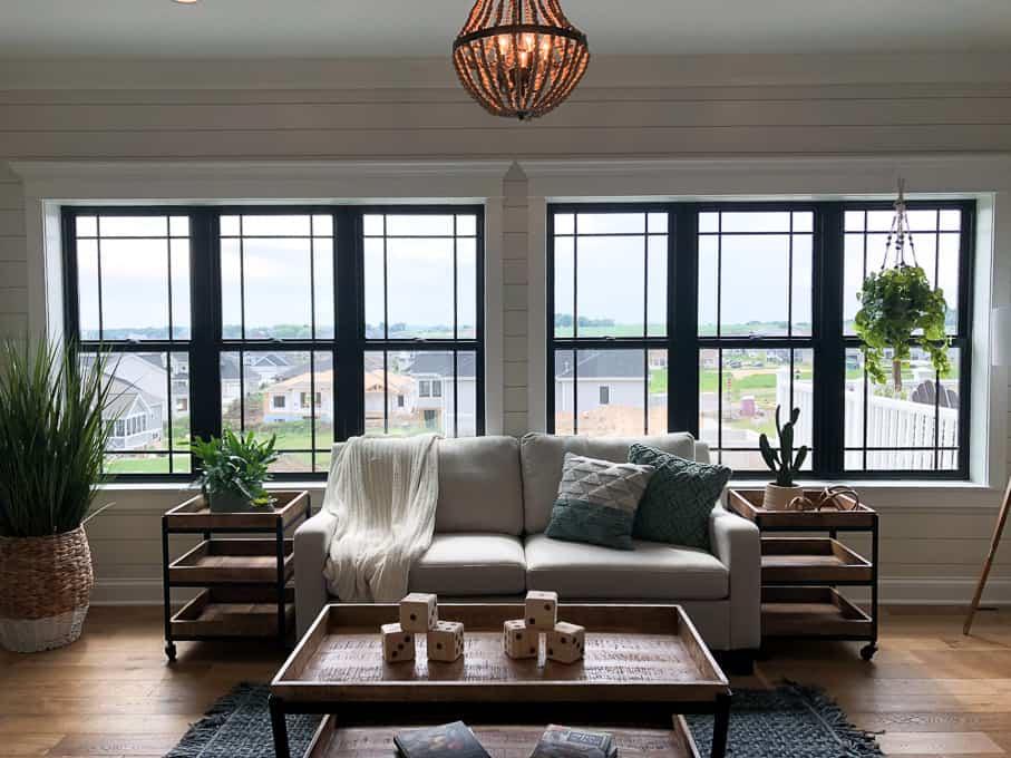 Black Windows in Living Room