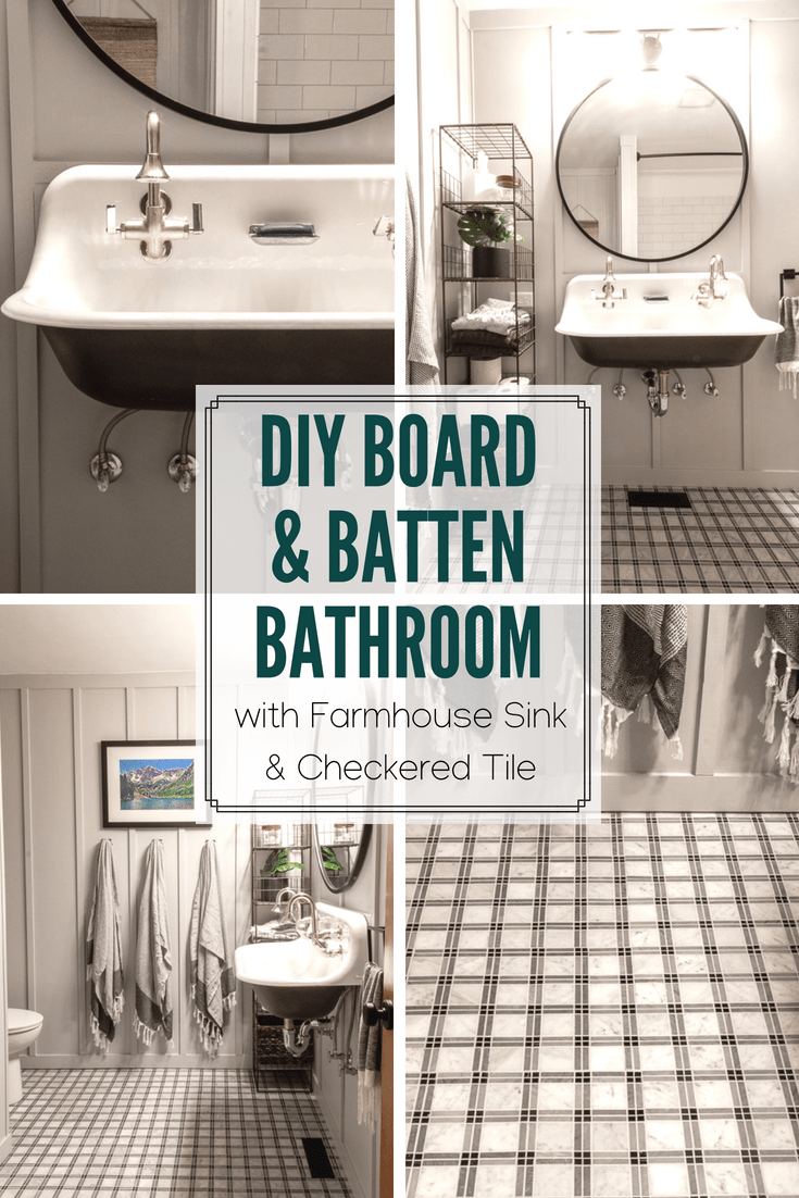 DIY Board and Batten Bathroom with Vintage Farmhouse Sink and Checkered Floor. See how this DIY'er used the Kohler Brockway Sink with Tartan Tile to create a modern bathroom.