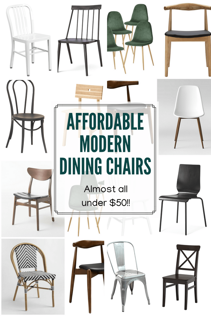 Affordable Modern Dining Chairs, Almost All Under $50 each! Where to Buy Affordable Dining Chairs. Modern Dining Room Chairs. Where to buy dining furniture.