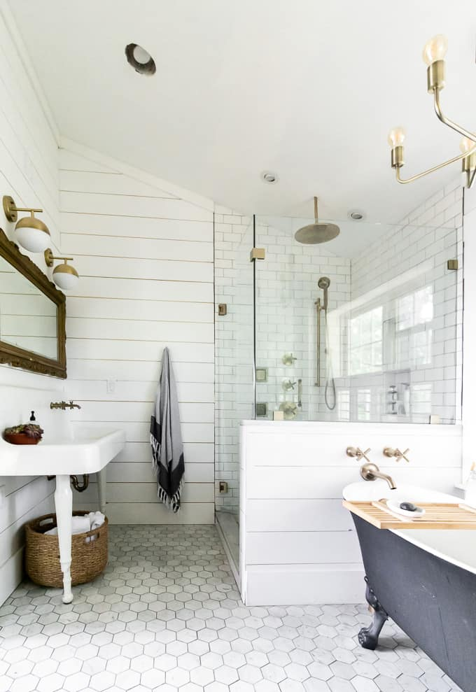 Bathroom with Tub, Shower, and Vintage Sink