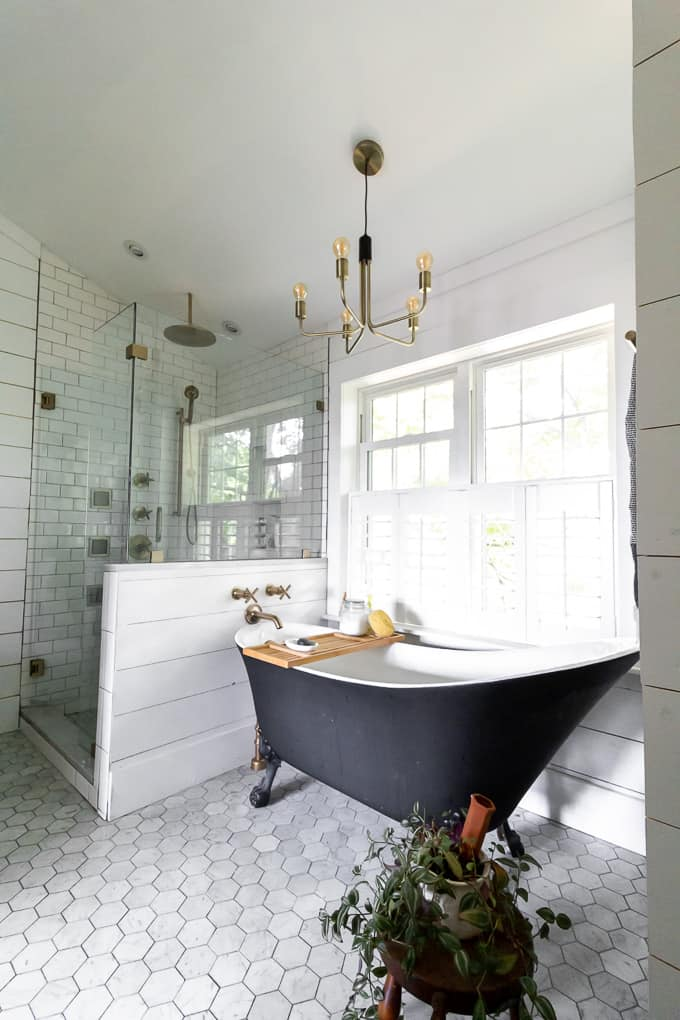 Modern Shower with Kohler Brass Fixtures