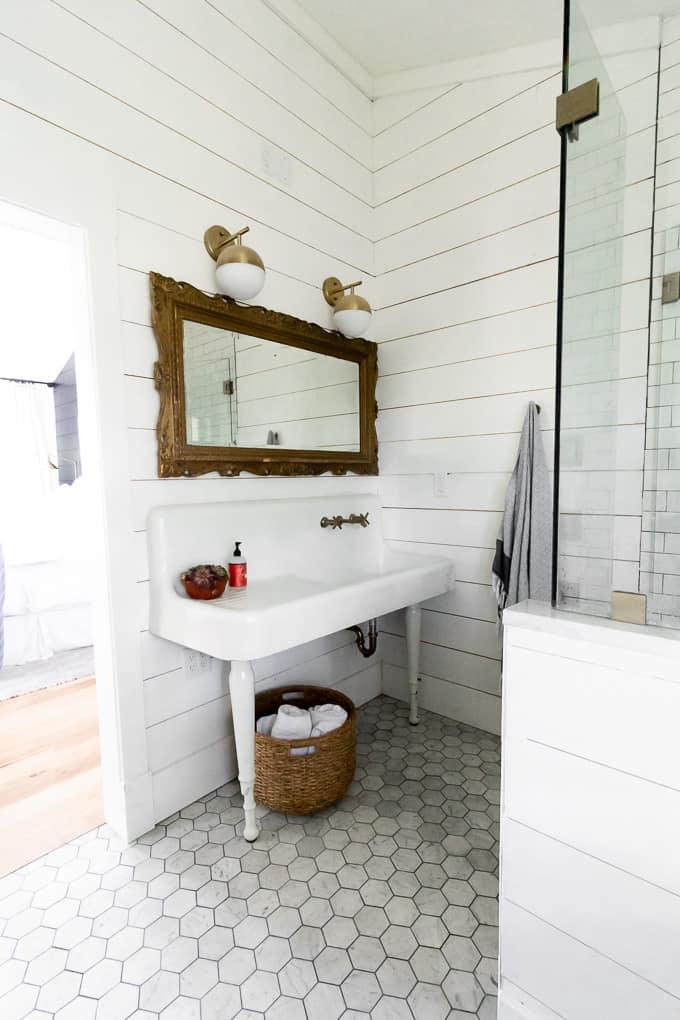 Brass Mirror with Vintage Sink