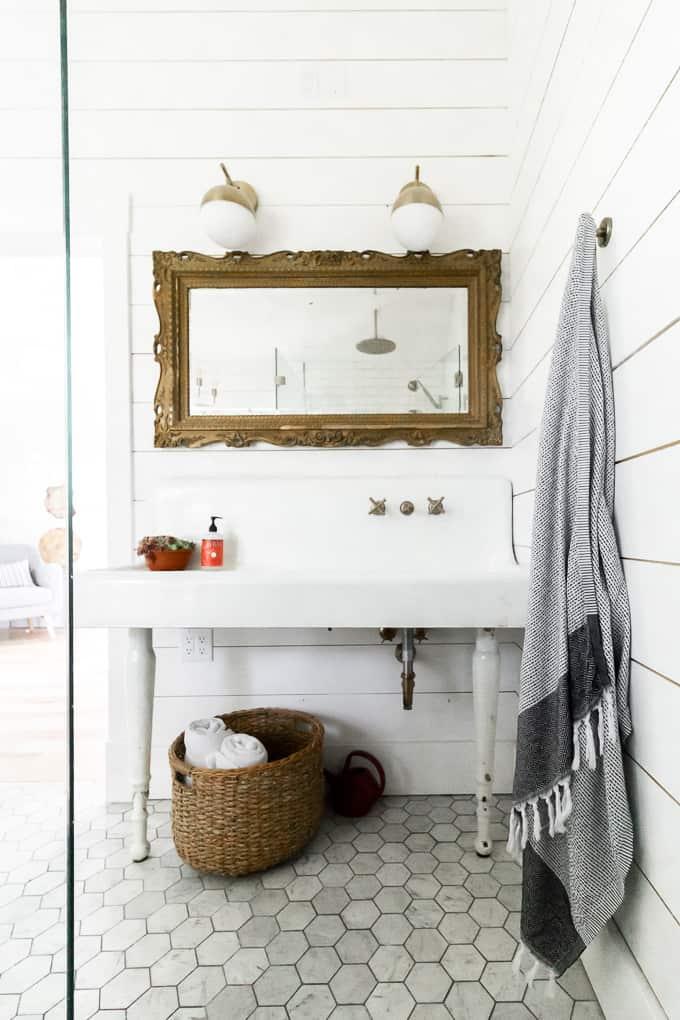 Farmhouse Sink with Washboard in Bathroom