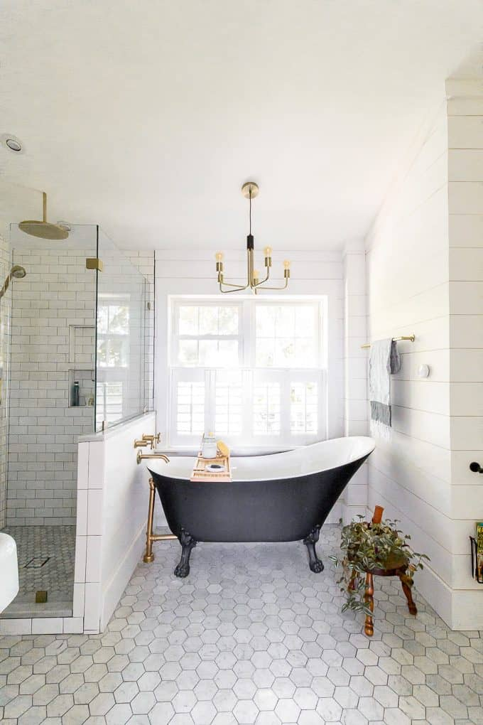 Black Clawfoot Tub in Modern Bathroom