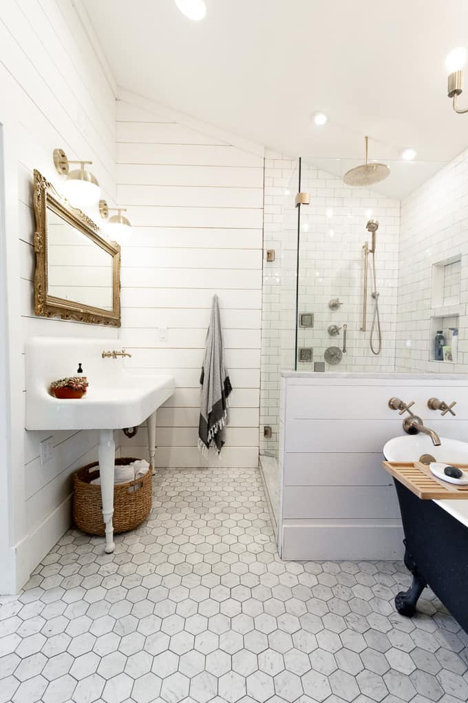 Bathroom with Vintage Farmhouse Sink and Brass Fixtures