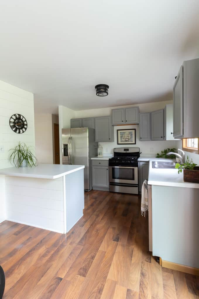 Gray and White Painted Kitchen Cabinets