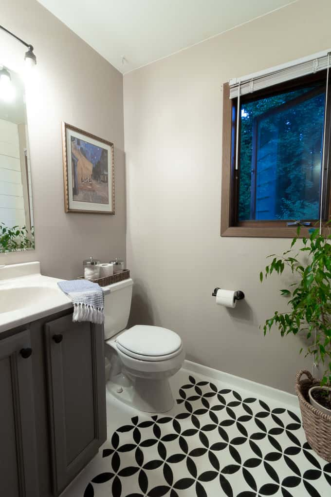 Bathroom with Stenciled Floor