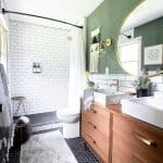 Modern Bathroom with Dresser Vanity and Subway Tile
