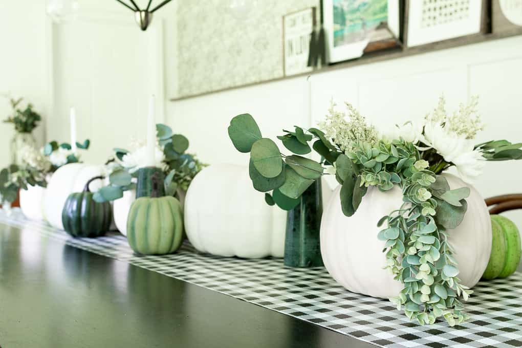 Green and White Pumpkin Centerpieces