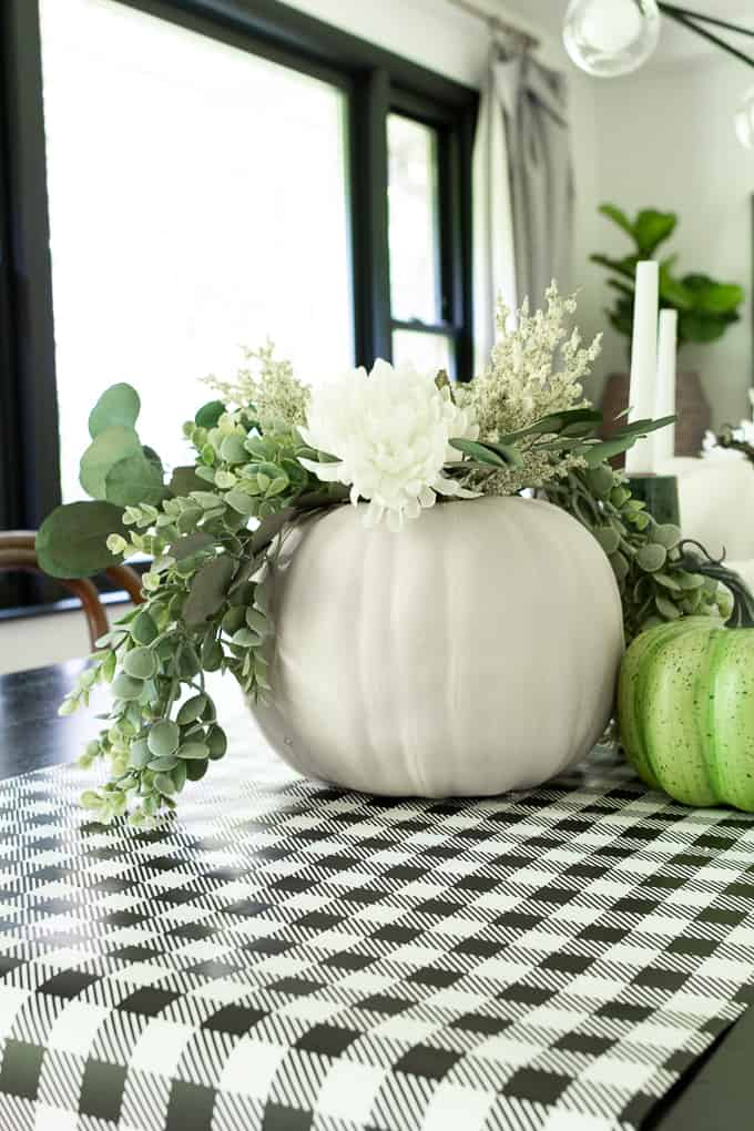 Faux Pumpkin with Greenery