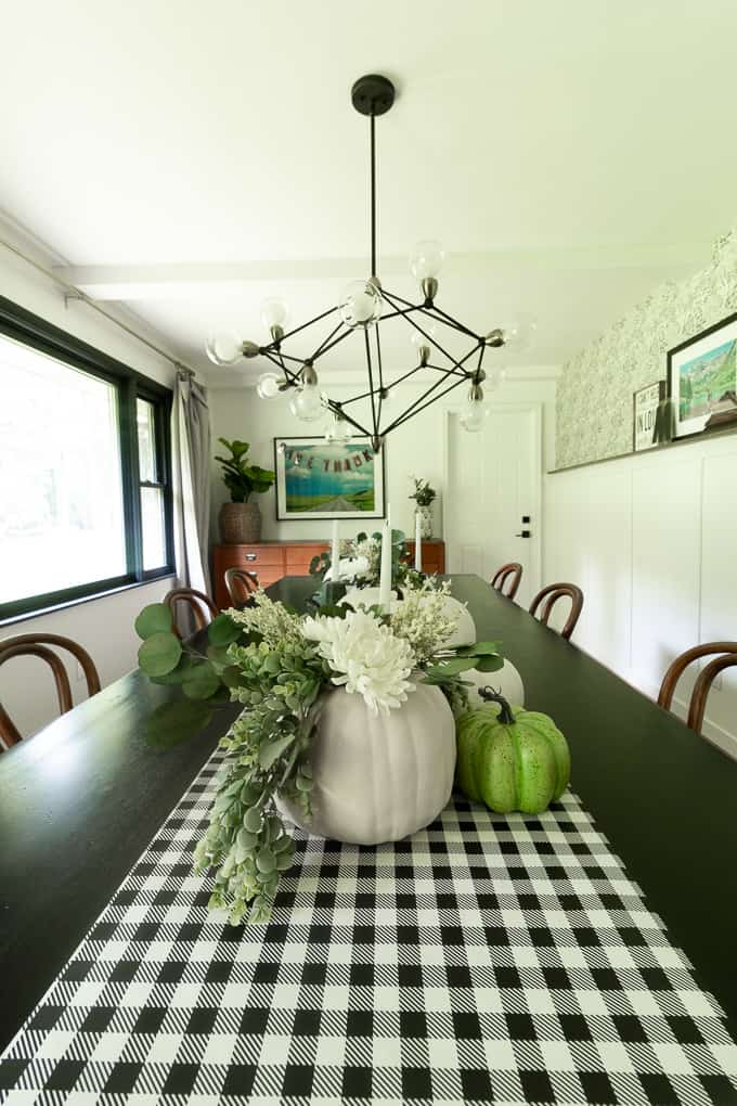 Fall Dining Room with Green and White