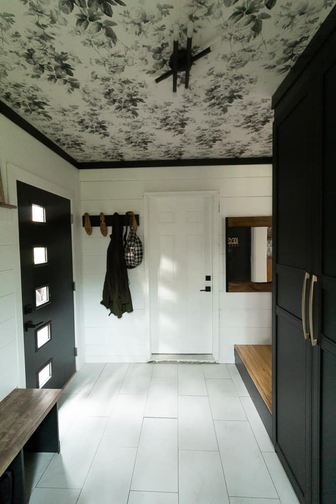 Mudroom with Wallpapered Ceiling
