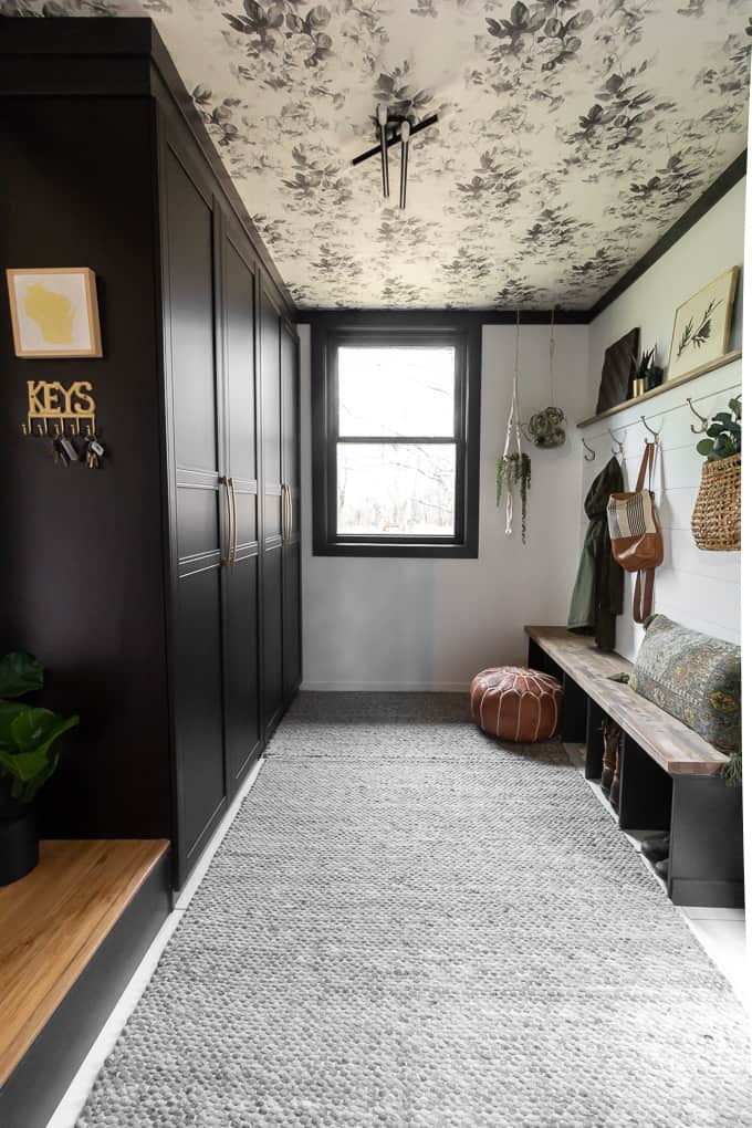 Mudroom with Wallpaper on Ceiling