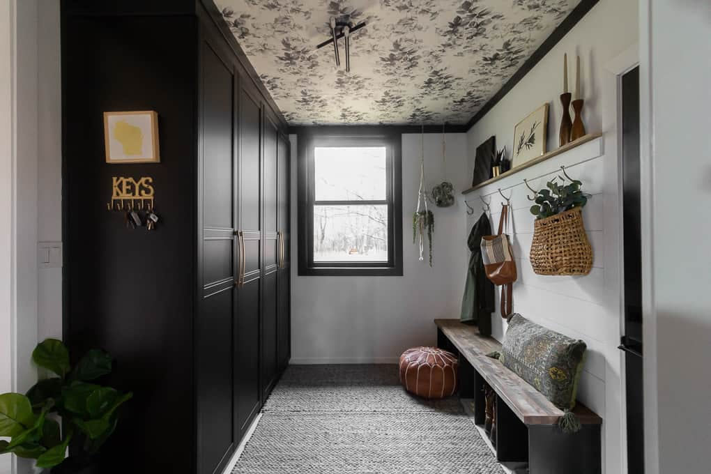 Mudroom with Wardrobes and Wallpapered Ceiling