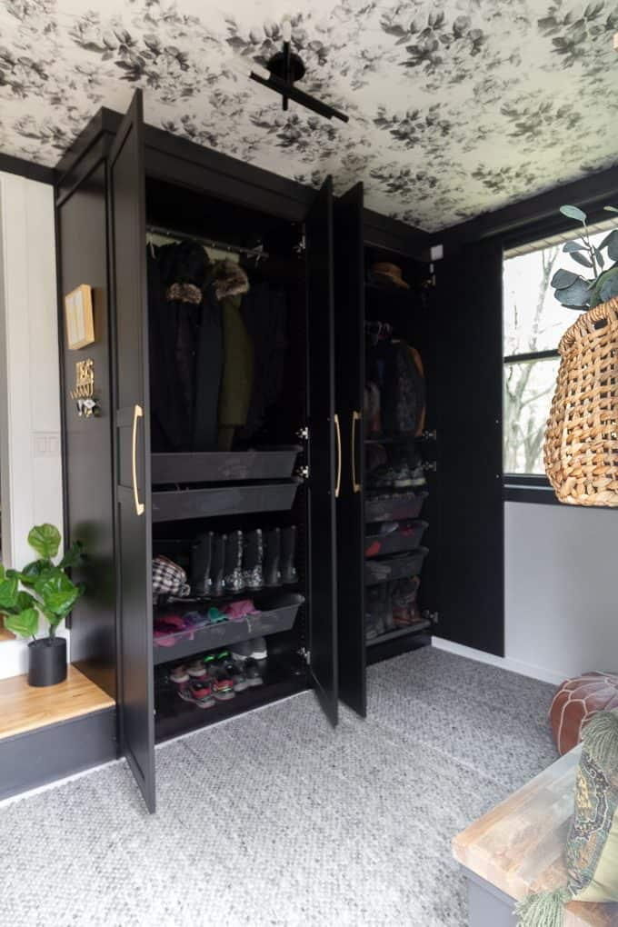 Wardrobes from Ikea for Mudroom