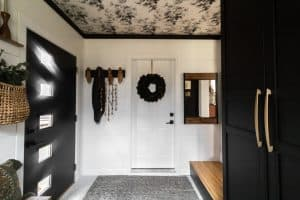 Mudroom with Wallpapered Ceilng
