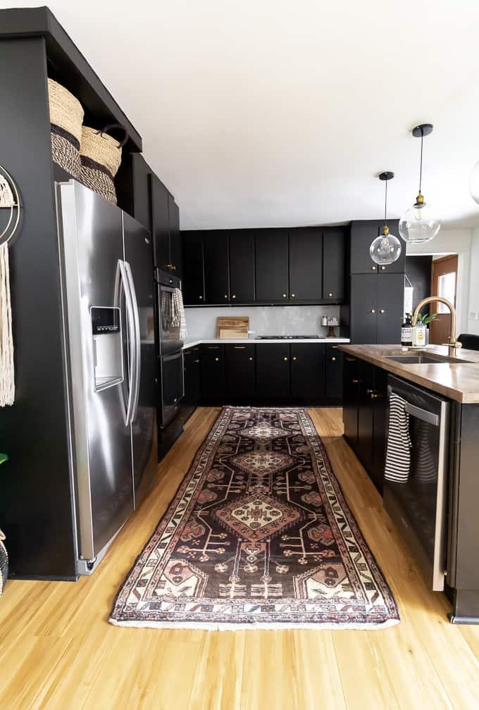 Vintage Rug in the Kitchen - Bright Green Door