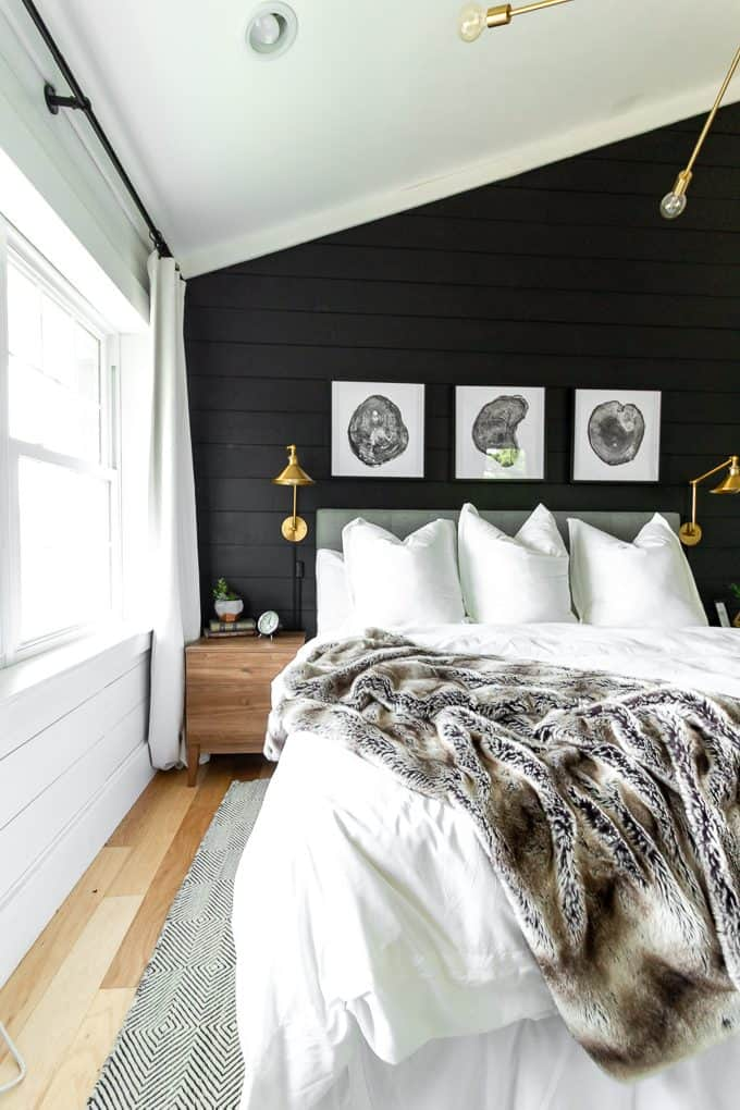 Black And White Modern Master Bedroom Bright Green Door