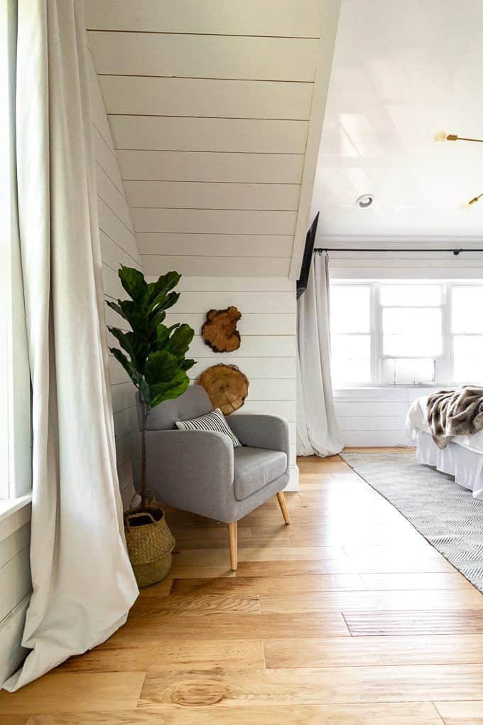 White Shiplap Master Bedroom
