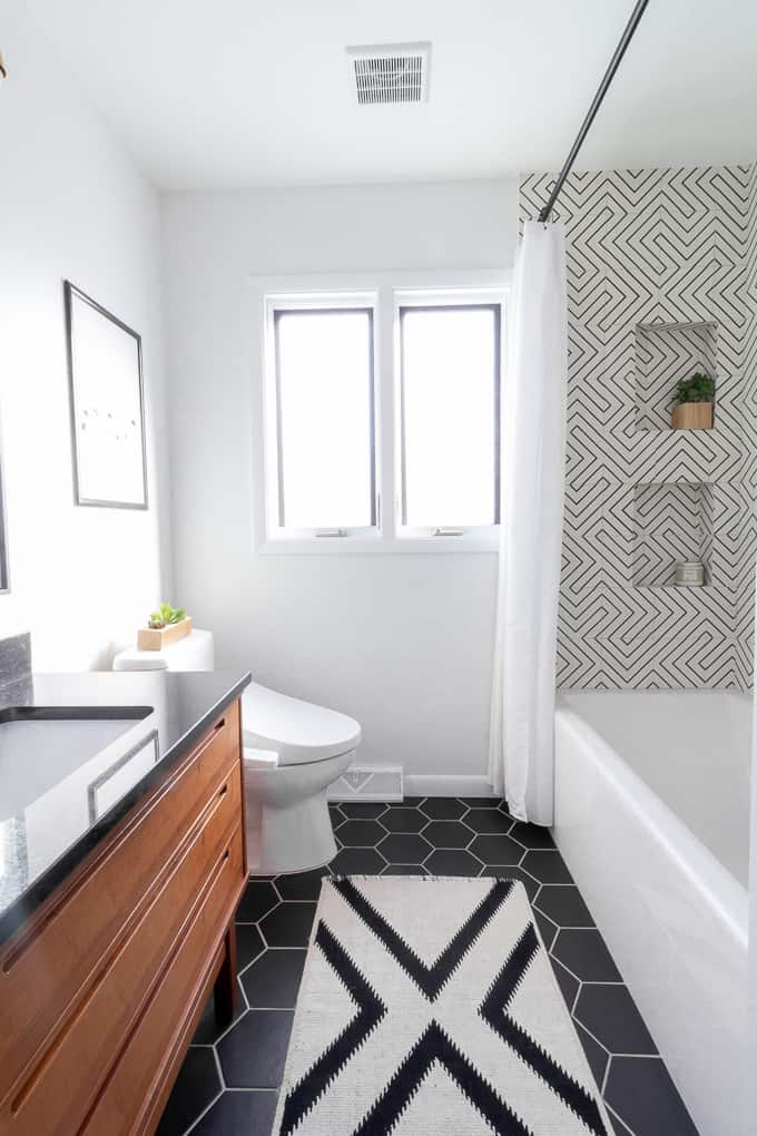 Modern Black and White Bathroom - Bright Green Door