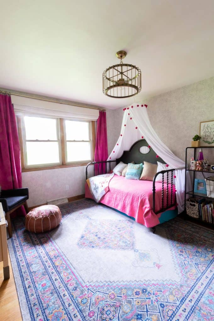 Modern Little Girl Bedroom with Pink and Brass