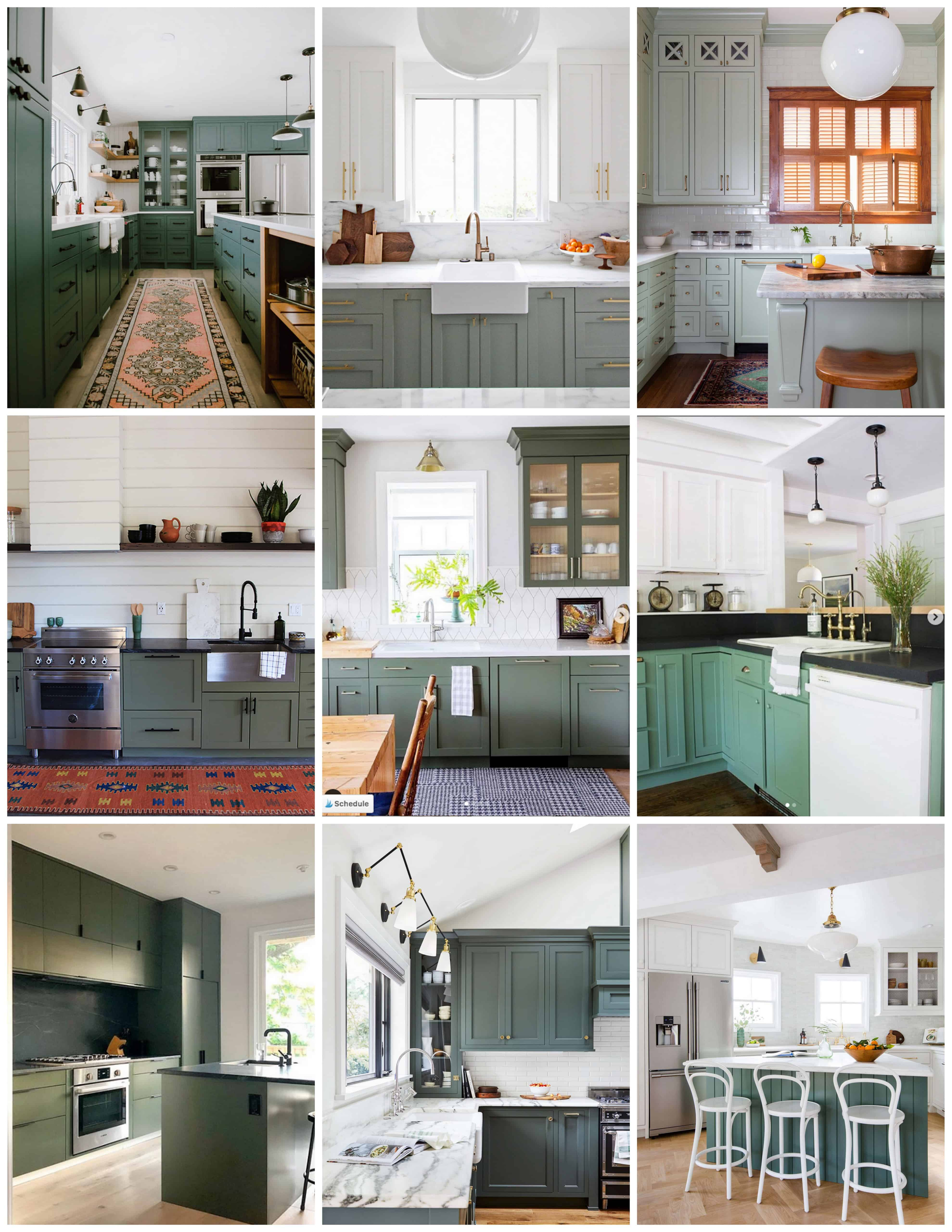 exciting green kitchens white cabinets | Moody Green Kitchen Cabinet Paint Colors - Bright Green Door