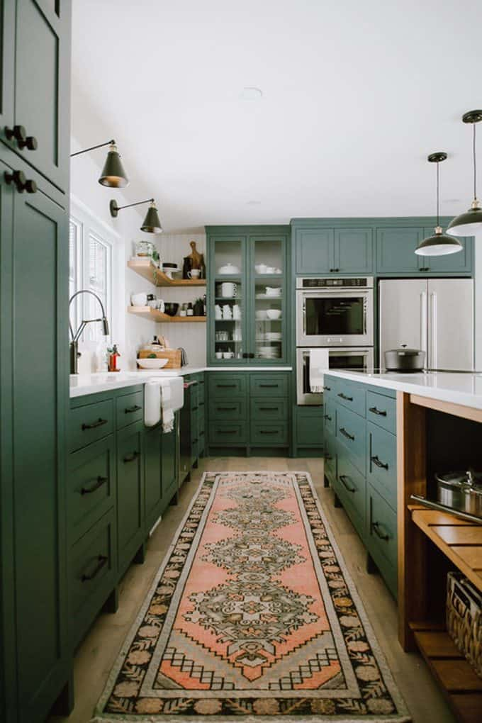 amusing green kitchen paint colors white cabinets | Moody Green Kitchen Cabinet Paint Colors - Bright Green Door