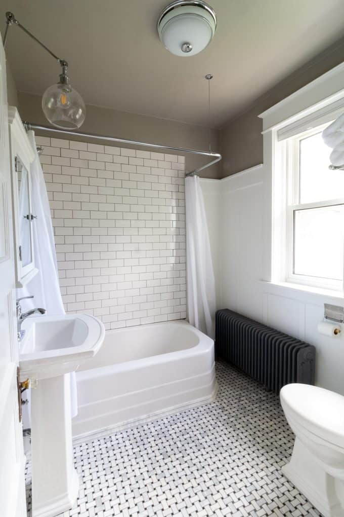 Gray and White Historic Bathroom