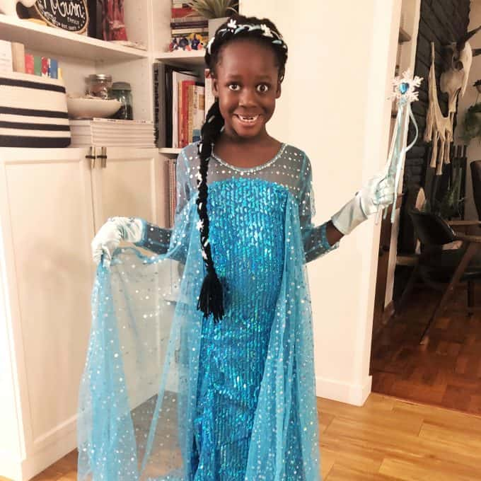 African American Elsa with Black Braid