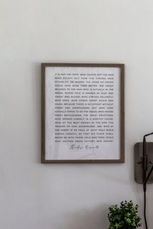 Framed Theodore Roosevelt Quote