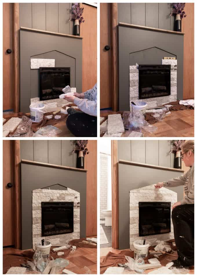 Installing Airstone on Modern Fireplace Surround