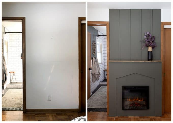 Board and Batten Fireplace Before and After