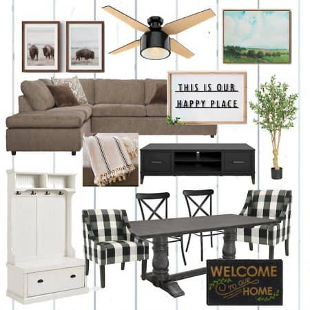 Farmhouse Living and Dining Room Mood Board