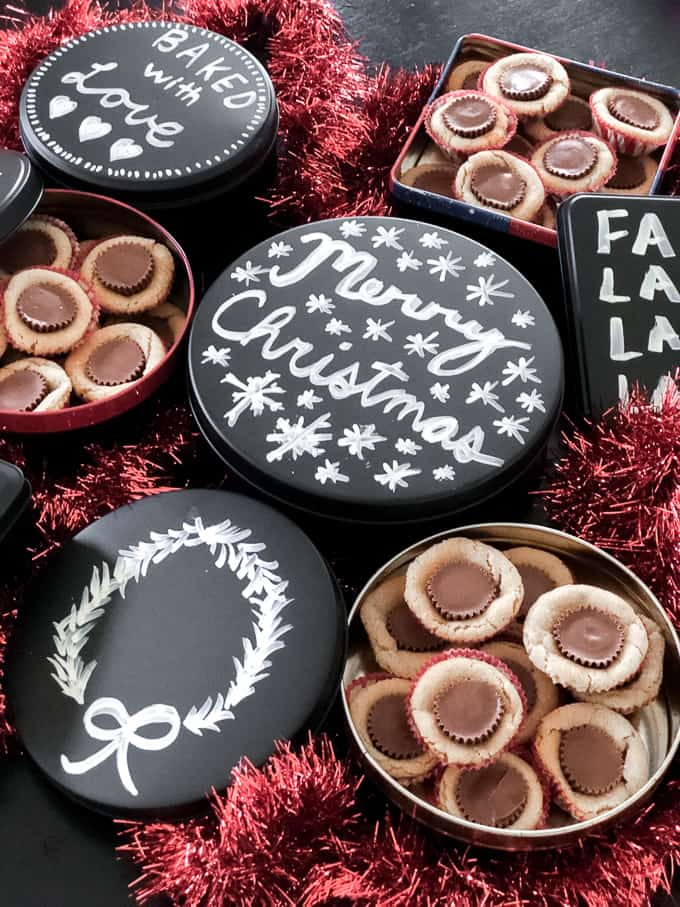 Peanut Blossoms in Chalkboard Cookie Tins