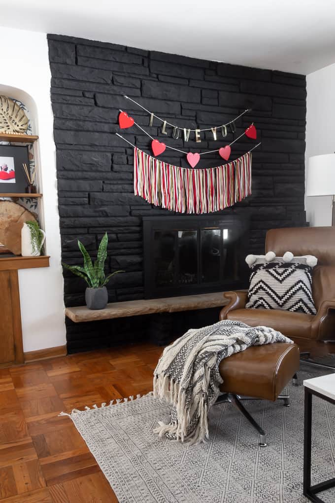 Black Fireplace with Valentine Banners