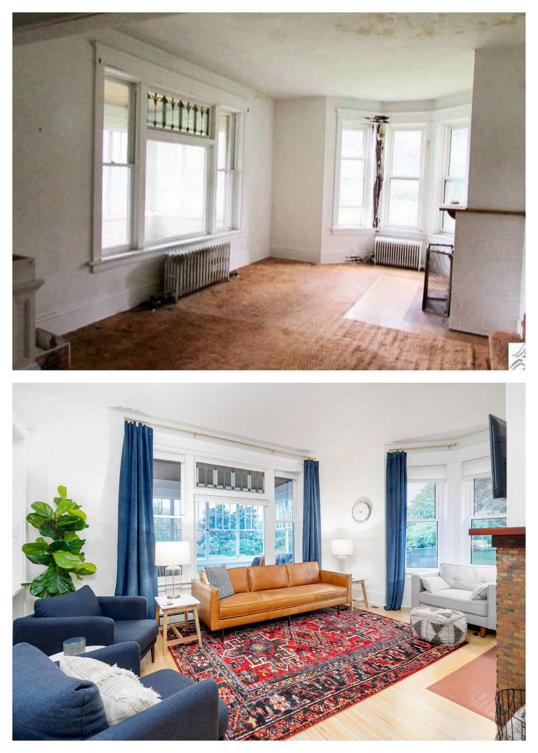 Old Home Living Room Before and After