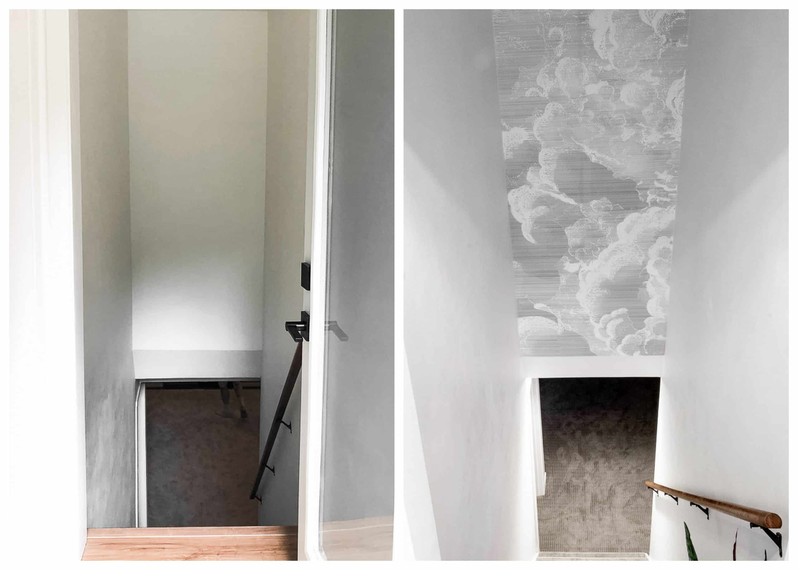 Wallpaper over a stairwell before and after